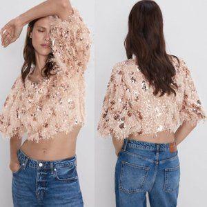 Zara Sequin Fringe Crop Top Buff Sleeves